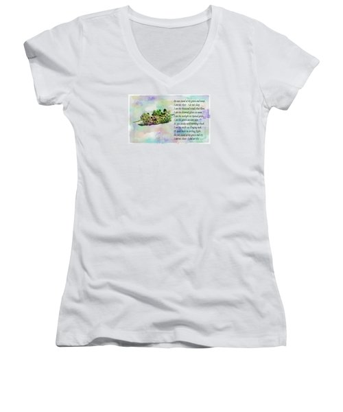 Do Not Stand At My Grave And Weep Women's V-Neck T-Shirt (Junior Cut) by Barbara Griffin