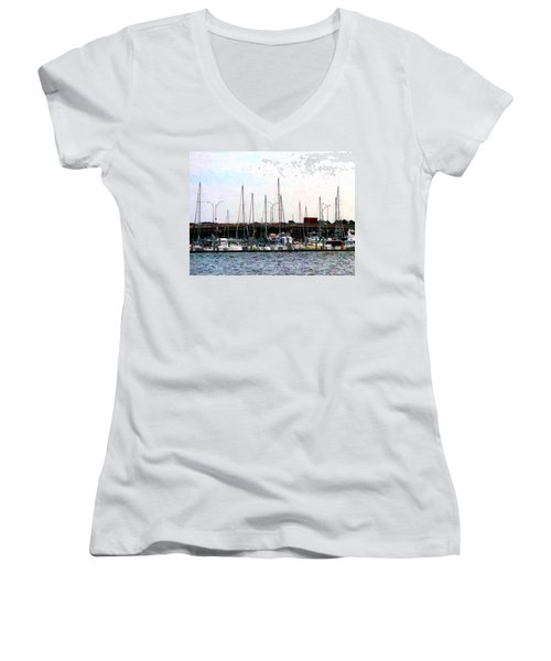 Women's V-Neck T-Shirt (Junior Cut) featuring the photograph Docked Boats Norfolk Va by Susan Savad