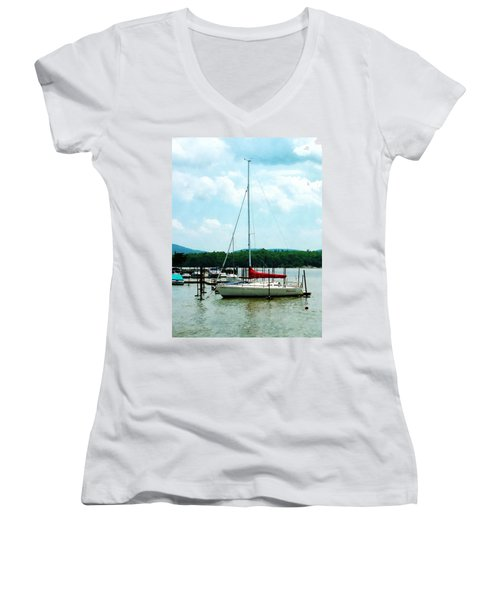 Women's V-Neck T-Shirt (Junior Cut) featuring the photograph Docked On The Hudson River by Susan Savad