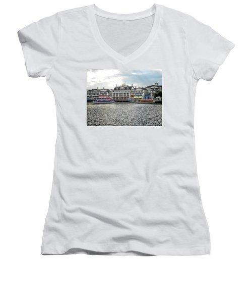 Docking At The Boardwalk Walt Disney World Women's V-Neck T-Shirt (Junior Cut) by Thomas Woolworth
