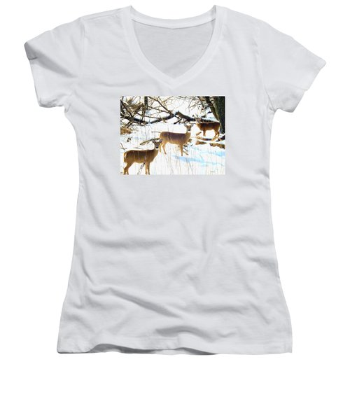 Does In The Snow Women's V-Neck