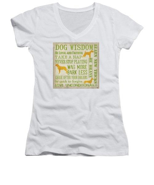 Dog Wisdom Women's V-Neck (Athletic Fit)