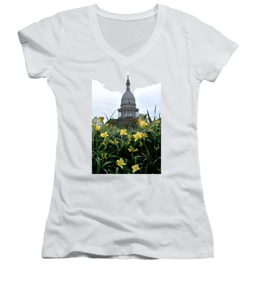 Dome Through The Daffodils Women's V-Neck T-Shirt