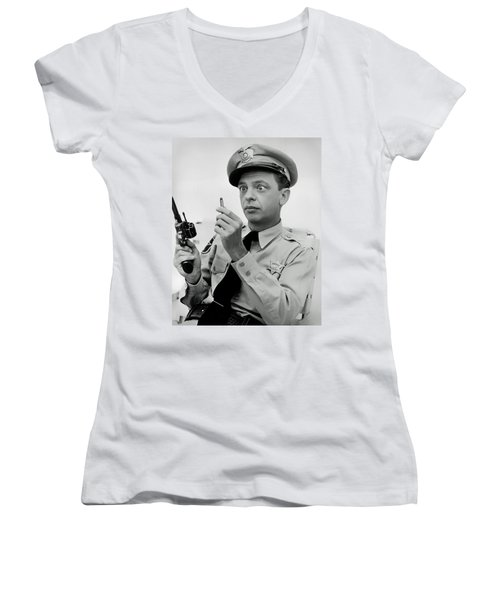 Barney Fife - Don Knotts Women's V-Neck T-Shirt (Junior Cut) by Mountain Dreams