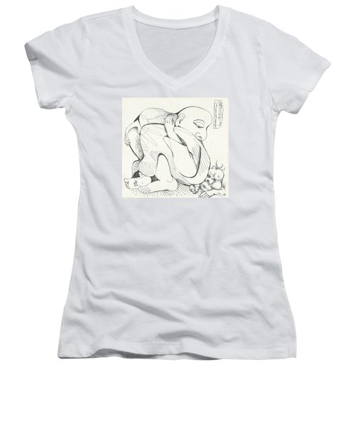 Don't Sit On Me Women's V-Neck T-Shirt (Junior Cut) by Melinda Dare Benfield