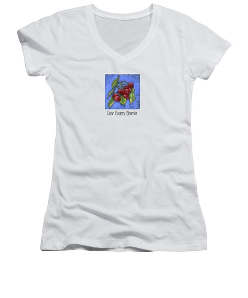 Door County Cherries Women's V-Neck T-Shirt (Junior Cut) by Pat Olson