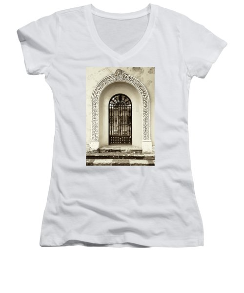 Door With Decorated Arch Women's V-Neck
