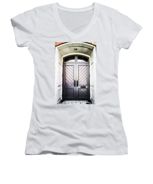 Doorway At Morris Avenue Women's V-Neck T-Shirt (Junior Cut) by Shelby  Young