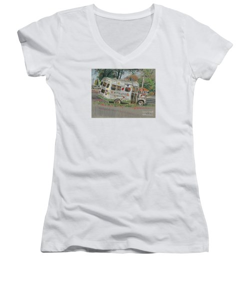 Women's V-Neck T-Shirt (Junior Cut) featuring the painting Doodlebugs Bus by Donald Maier