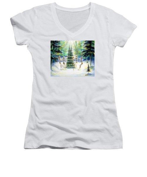 Dos Arbolitos Women's V-Neck T-Shirt (Junior Cut) by Heather Calderon