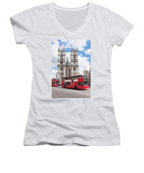 Double-decker Buses Passing Women's V-Neck T-Shirt (Junior Cut) by Panoramic Images