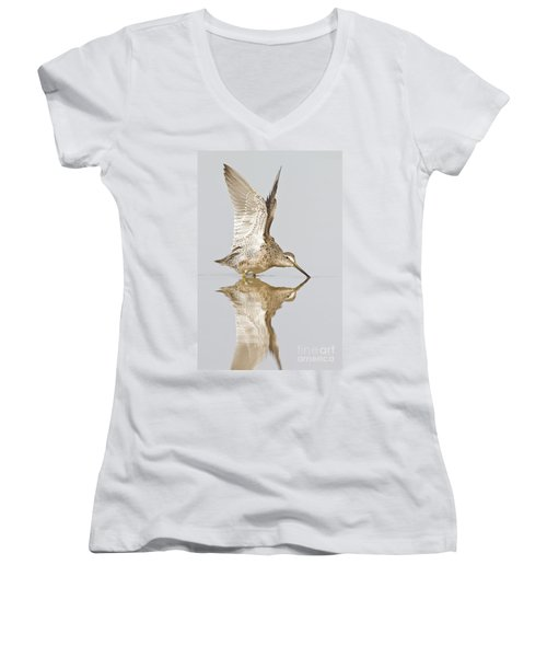 Dowitcher Wing Stretch Women's V-Neck T-Shirt (Junior Cut) by Bryan Keil