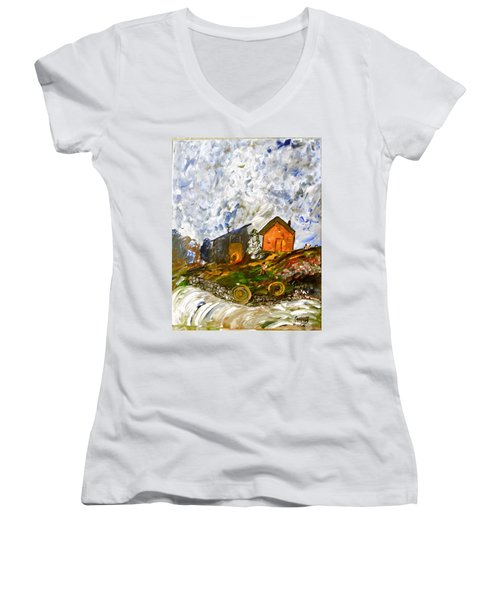 Down On The Farm Women's V-Neck T-Shirt