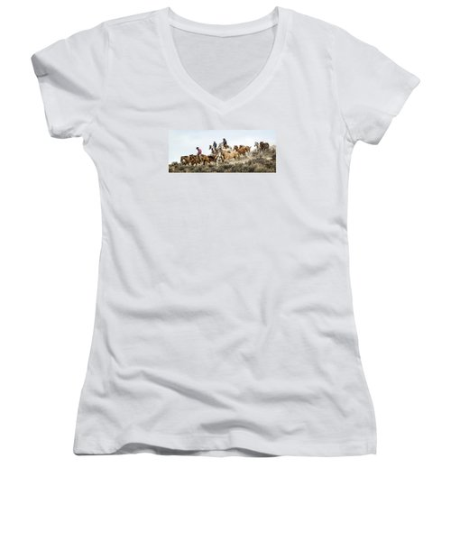 Down The Hill Women's V-Neck T-Shirt (Junior Cut) by Joan Davis