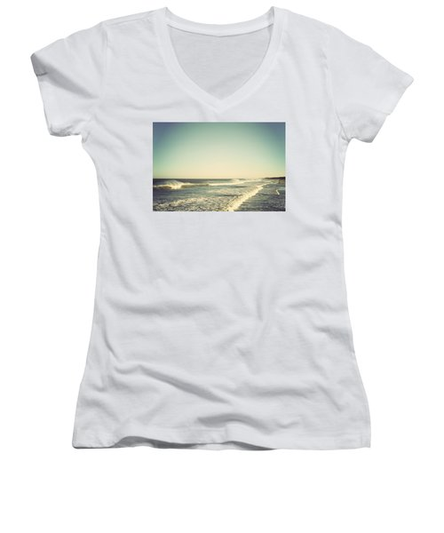 Down The Shore - Seaside Heights Jersey Shore Vintage Women's V-Neck T-Shirt (Junior Cut) by Terry DeLuco