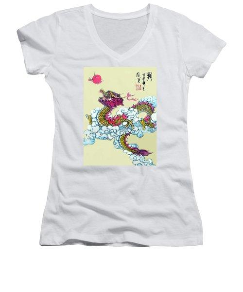 Dragon Women's V-Neck T-Shirt (Junior Cut) by Yufeng Wang