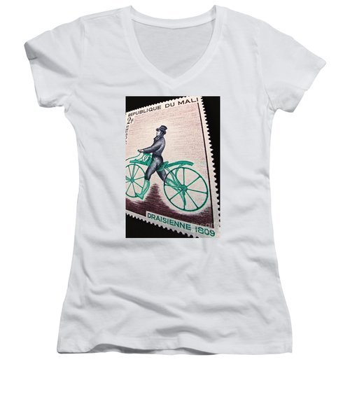 Women's V-Neck T-Shirt (Junior Cut) featuring the photograph Draisienne 1809 Vintage Postage Stamp Print by Andy Prendy