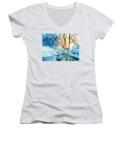 Women's V-Neck (Athletic Fit) featuring the painting Drawn To The Sun by Hanne Lore Koehler