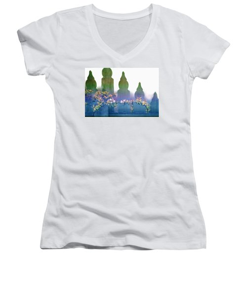 Women's V-Neck T-Shirt (Junior Cut) featuring the photograph Dreams Of A Picket Fence by Holly Kempe
