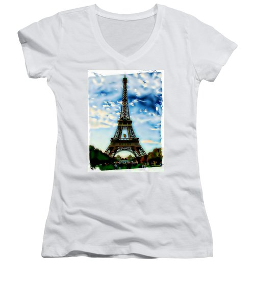 Women's V-Neck T-Shirt (Junior Cut) featuring the photograph Dreamy Eiffel Tower by Kathy Churchman