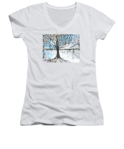 Women's V-Neck T-Shirt (Junior Cut) featuring the painting Dreamy Spring by Evelina Popilian