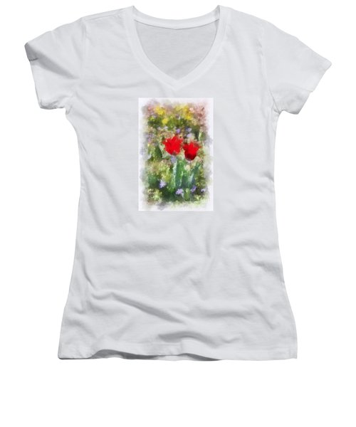 Women's V-Neck T-Shirt (Junior Cut) featuring the painting Dressed In Red  by Kerri Farley