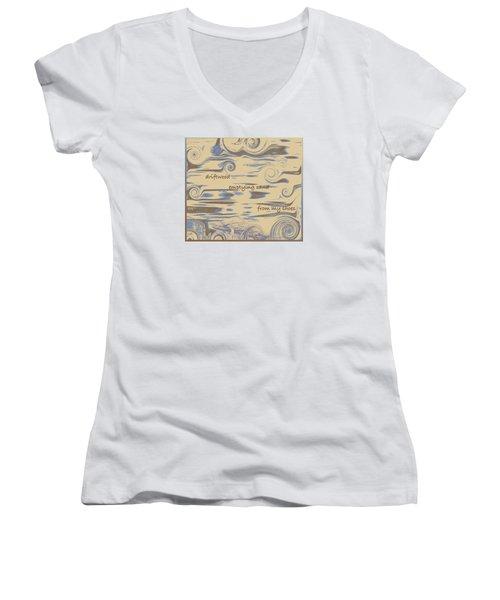 Women's V-Neck T-Shirt (Junior Cut) featuring the digital art Driftwood Haiga by Judi Suni Hall