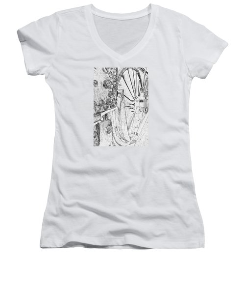 Drive Wheels Dm  Women's V-Neck T-Shirt (Junior Cut) by Daniel Thompson