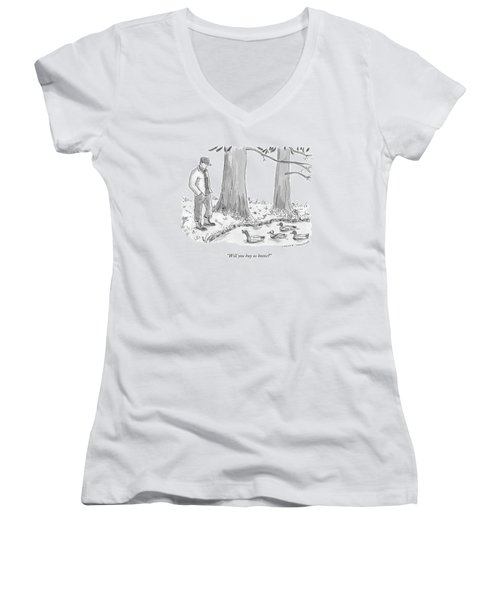 Ducks In A Pond Speak To A Man Women's V-Neck