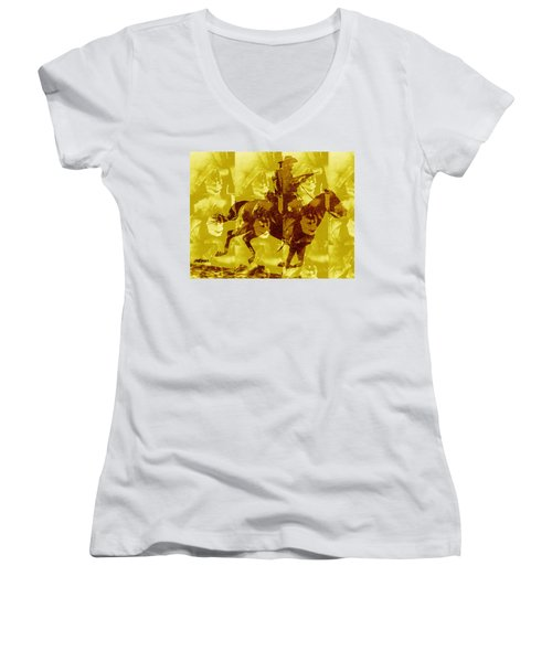 Women's V-Neck T-Shirt (Junior Cut) featuring the digital art Duel In The Saddle 1 by Seth Weaver