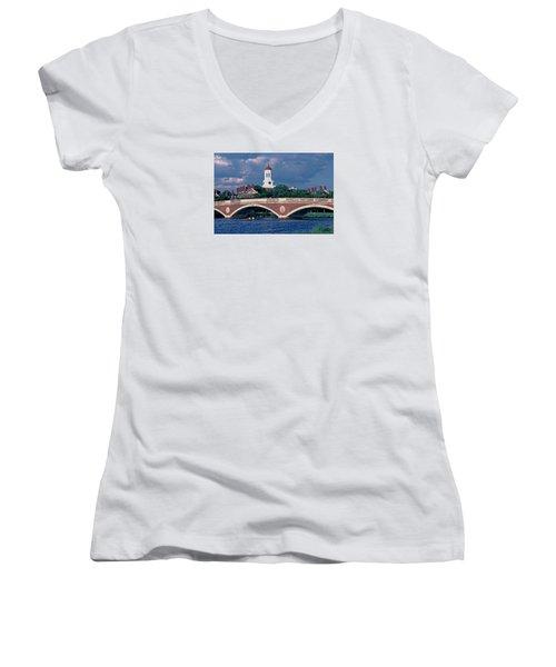 Weeks Bridge Charles River Women's V-Neck T-Shirt (Junior Cut) by Tom Wurl