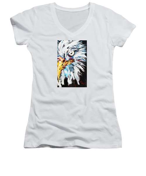 Eagle Women's V-Neck T-Shirt (Junior Cut) by Patricia Olson
