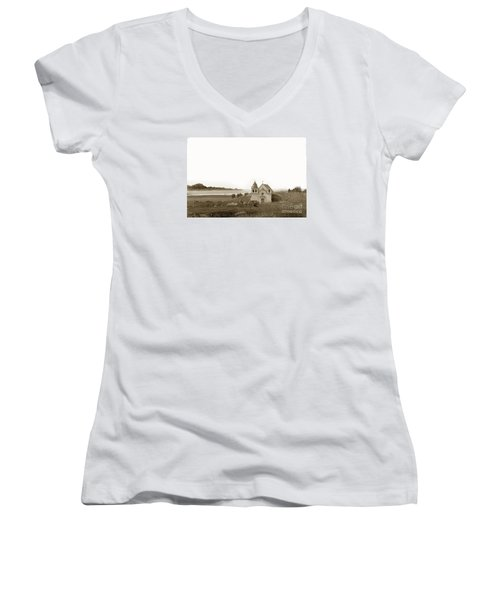 Early Carmel Mission And Point Lobos California Circa 1884 Women's V-Neck T-Shirt (Junior Cut) by California Views Mr Pat Hathaway Archives