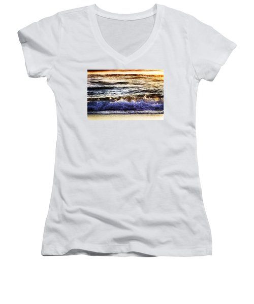 Early Morning Frothy Waves Women's V-Neck T-Shirt
