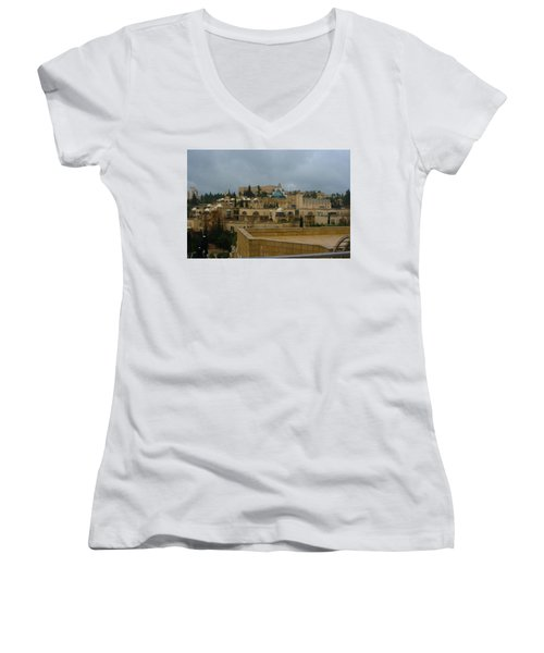 Women's V-Neck T-Shirt (Junior Cut) featuring the photograph Early Morning In Jerusalem by Doc Braham