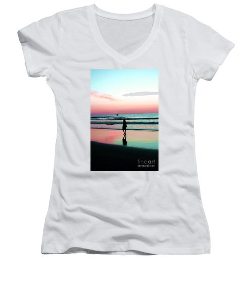 Early Morning Stroll Women's V-Neck T-Shirt (Junior Cut) by Dan Stone
