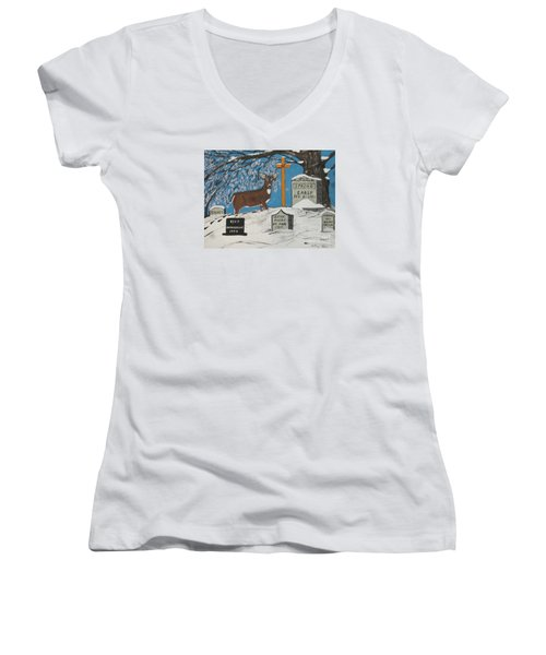 Early Spring Women's V-Neck T-Shirt (Junior Cut) by Jeffrey Koss