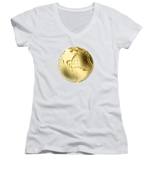 Earth In Gold Metal Isolated On White Women's V-Neck T-Shirt (Junior Cut) by Johan Swanepoel