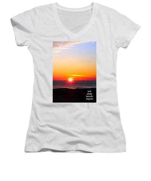 East. Sleep. Beach Sunrise Women's V-Neck T-Shirt