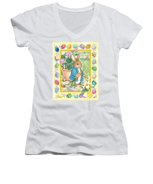 Easter Bunny Women's V-Neck (Athletic Fit)