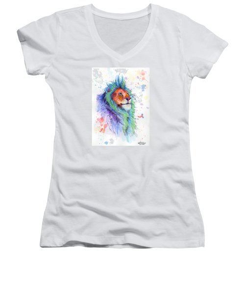 Easter Lion Women's V-Neck T-Shirt (Junior Cut) by Arleana Holtzmann
