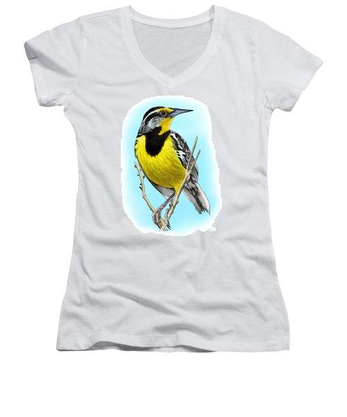 Eastern Meadowlark Women's V-Neck T-Shirt