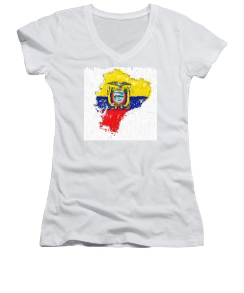 Ecuador Painted Flag Map Women's V-Neck T-Shirt (Junior Cut) by Antony McAulay