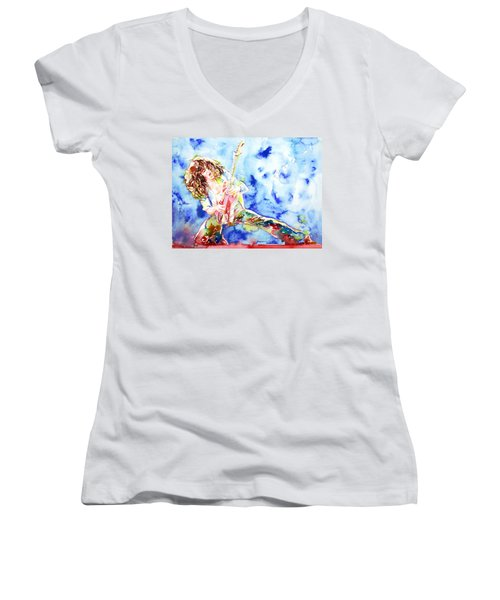Eddie Van Halen Playing The Guitar.1 Watercolor Portrait Women's V-Neck T-Shirt (Junior Cut) by Fabrizio Cassetta