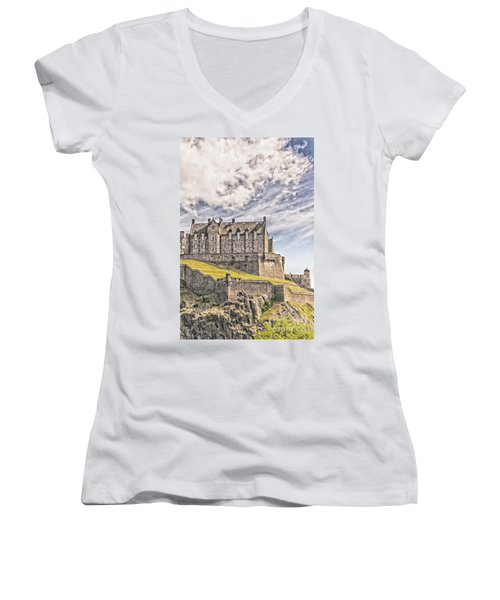 Edinburgh Castle Painting Women's V-Neck T-Shirt (Junior Cut) by Antony McAulay