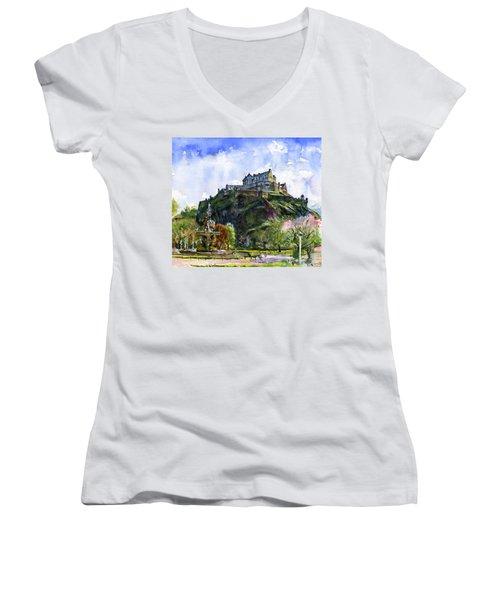 Edinburgh Castle Scotland Women's V-Neck T-Shirt (Junior Cut) by John D Benson