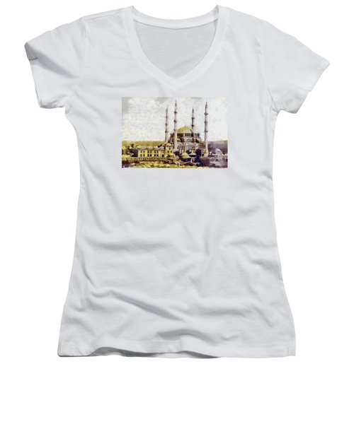 Edirne Turkey Old Town Women's V-Neck T-Shirt (Junior Cut) by Georgi Dimitrov