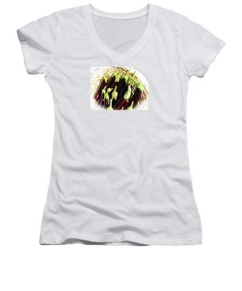 Women's V-Neck T-Shirt (Junior Cut) featuring the photograph Eggplants In A Basket by Tina M Wenger