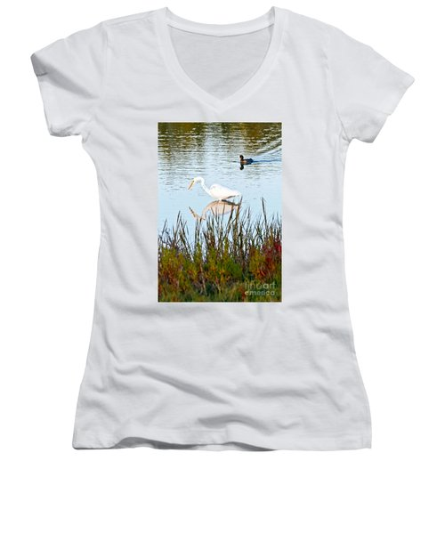 Women's V-Neck T-Shirt (Junior Cut) featuring the photograph Egret And Coot In Autumn by Kate Brown