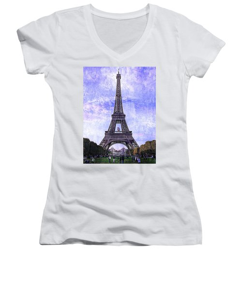 Women's V-Neck T-Shirt (Junior Cut) featuring the photograph Eiffel Tower Paris by Kathy Churchman
